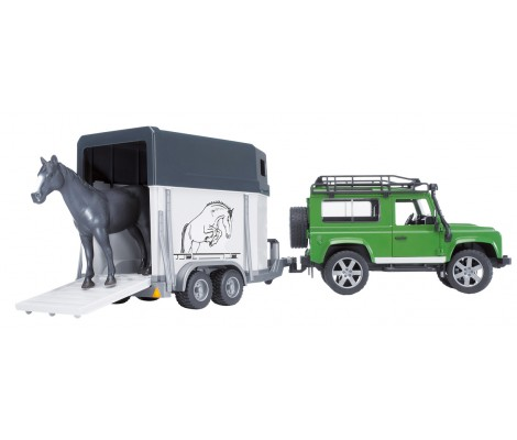 BRUDER - LAND ROVER Defender 90 Break avec van et un cheval