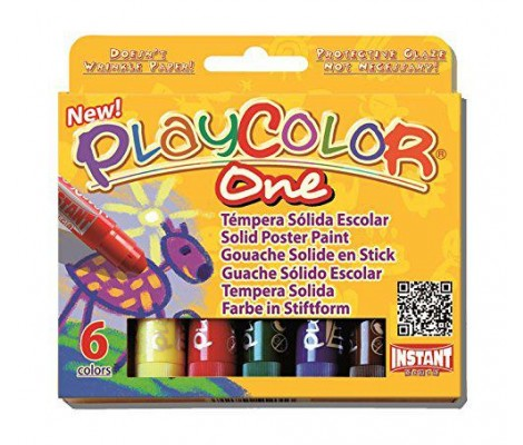 Instant - Playcolor - Gouache Solide En Stick - 6 Couleurs - 10 G