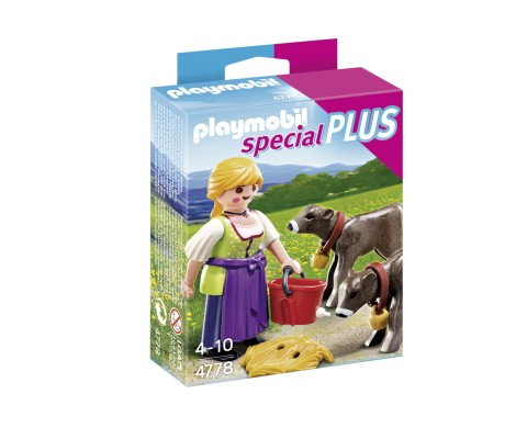 Playmobil - 4778 - Agricultrice avec Veaux